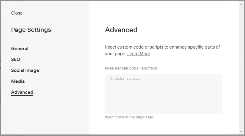 Squarespace Pages Code Injection